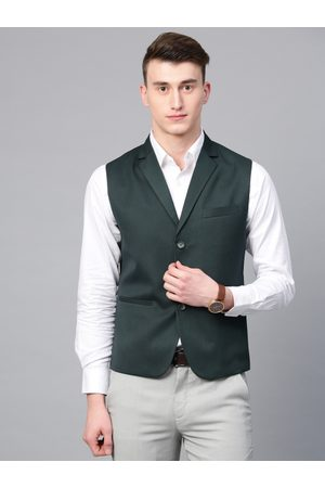 MANQ Men Green Solid Slim Fit Woven Formal Waistcoat