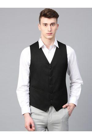 MANQ Men Black Solid Slim Fit Formal Waistcoat