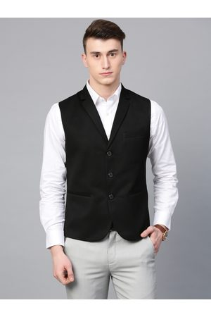MANQ Men Black Solid Slim Fit Woven Formal Waistcoat