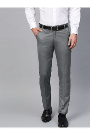MANQ Men Grey Smart Slim Fit Solid Formal Trousers
