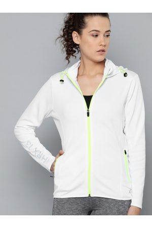 HRX Women White Solid Training Sporty Jacket