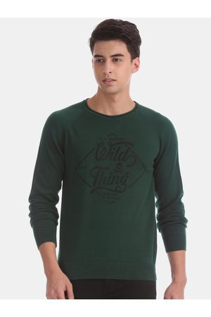 ED HARDY Men Green Printed Pullover Sweater