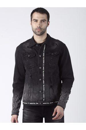 Rex Straut Men Black Solid Denim Jacket