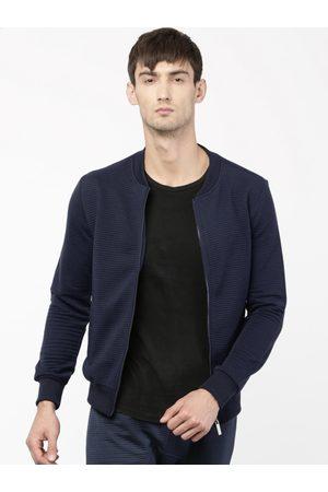 Ether Men Navy Self Design Sweatshirt