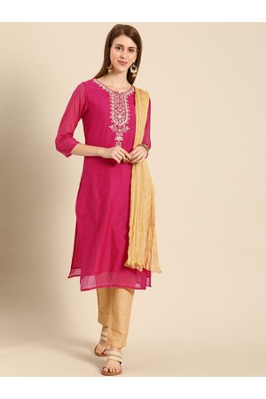 IMARA Women Fuchsia & Beige Yoke Design Kurta with Salwar & Dupatta