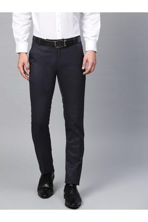 MANQ Men Navy Blue Smart Slim Fit Solid Formal Trousers