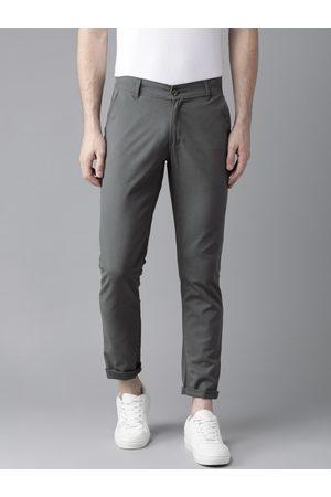 Hubberholme Men Charcoal Grey Slim Fit Solid Chinos