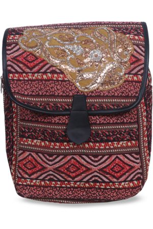 Diwaah Women Red & Pink Textured Backpack