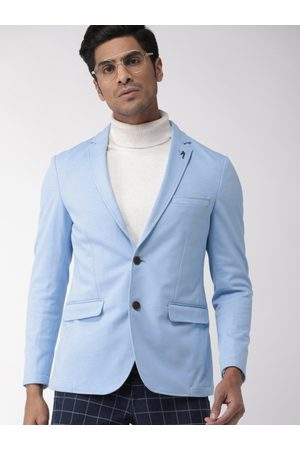 Indian Terrain Men Blue Solid Single-Breasted Smart Casual Blazer