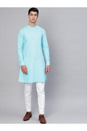 See Designs Men Turquoise Blue & White Solid Kurta with Trousers