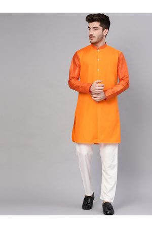 See Designs Men Trousers - Men Orange & White Solid Kurta with Trousers