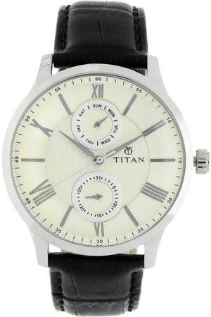 Titan Men Cream-Coloured Analogue Leather Watch 90100SL01