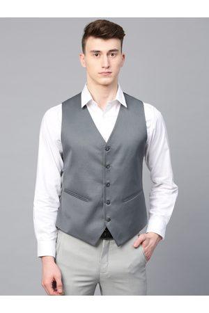 MANQ Men Grey Solid Slim Fit Formal Waistcoat