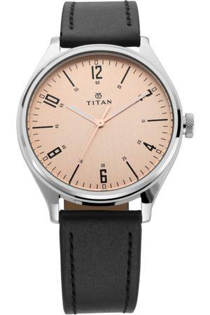 Titan Men Rose Gold Analogue Leather Watch 1802SL03