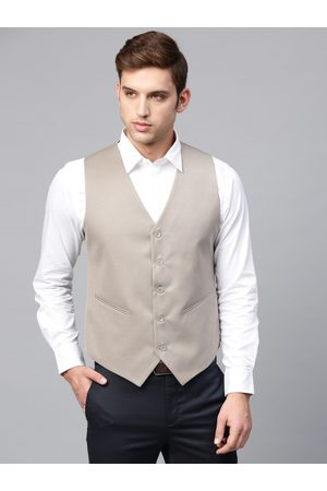 MANQ Men Taupe Solid Slim Fit Single-Breasted Waistcoat