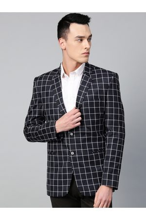 MANQ Men Black & White Checked Slim Fit Single Breasted Party Blazer