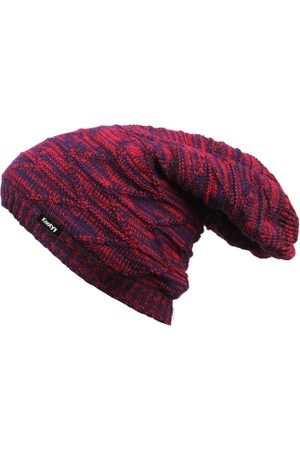 Knotyy Men Red & Navy Blue Self-Design Beanie Cap