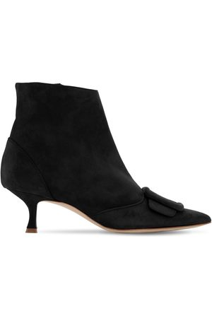 Manolo Blahnik 50mm Baylow Suede Ankle Boots