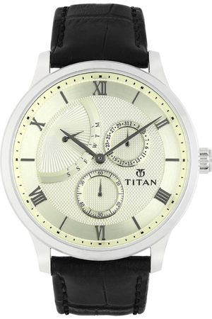 Titan Men Cream-Coloured Analogue Leather Watch 90101SL01