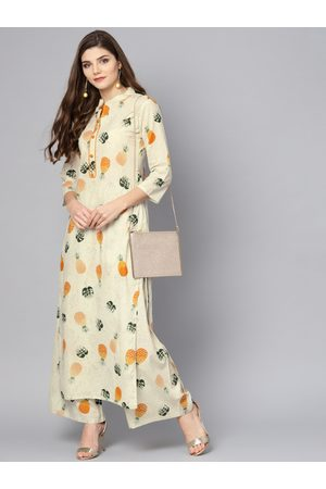 Nayo Women Off-White & Mustard Yellow Printed Kurta with Palazzos