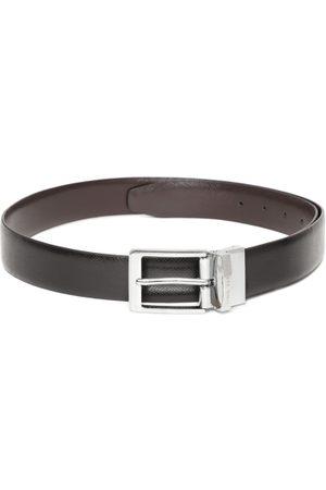 Lino Perros Men Black & Coffee Brown Solid Reversible Leather Belt