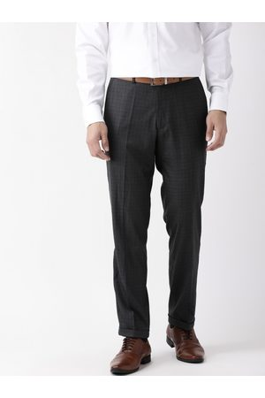 Marks & Spencer Men Formal Trousers - Men Charcoal Grey Slim Fit Checked Formal Trousers