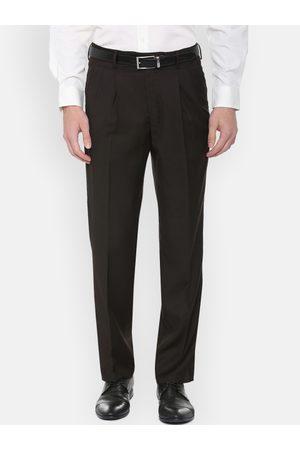 Louis Philippe Men Brown Classic Regular Fit Solid Formal Trousers