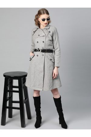 ATHENA Women Grey Melange Solid Trench Coat