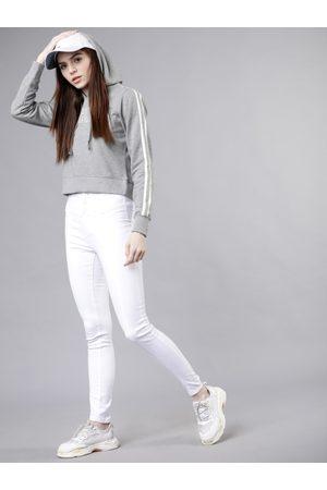 Tokyo Talkies Women Grey & White Solid Hooded Sweatshirt