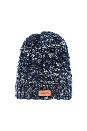 Knotyy Men Navy Blue Solid Beanie