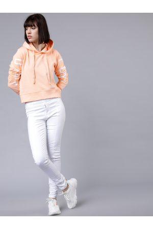Tokyo Talkies Women Peach-Coloured Solid Hooded Sweatshirt