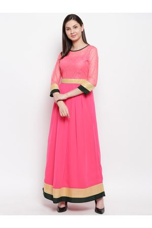 Karmic Vision Women Pink Solid Maxi Fit & Flare Dress