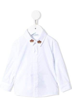 Dolce & Gabbana Kids Long Sleeve - Crowns-embroidered long sleeves shirt