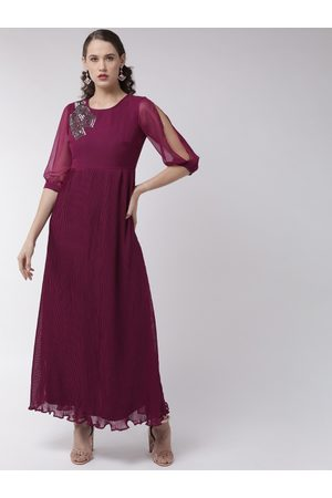 MISH Women Magenta Solid Accordion Pleat Maxi Dress