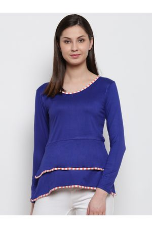 Karmic Vision Women Blue Solid A-Line Top
