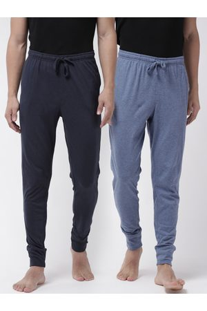 Marks & Spencer Men Pack Of 2 Blue Solid Joggers