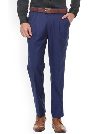 Louis Philippe Men Navy Blue Regular Fit Solid Formal Trousers