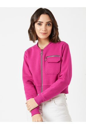 Miss Chase Women Pink Solid Tailored Fleece Jacket