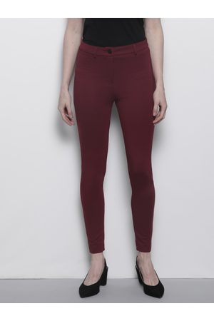 Dorothy Perkins Women Burgundy Skinny Fit Solid Trousers