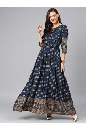 ALENA Women Navy Blue Printed Anarkali Kurta