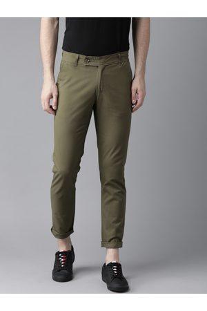 Hubberholme Men Olive Green Slim Fit Solid Chinos
