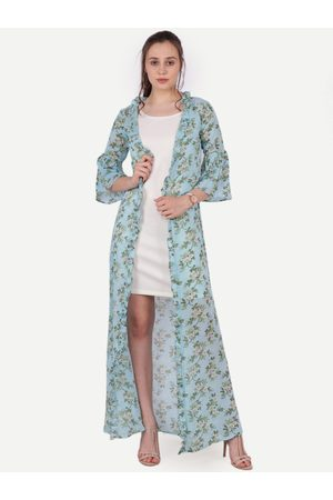 SCORPIUS Women Blue & Green Printed Longline Open Front Shrug
