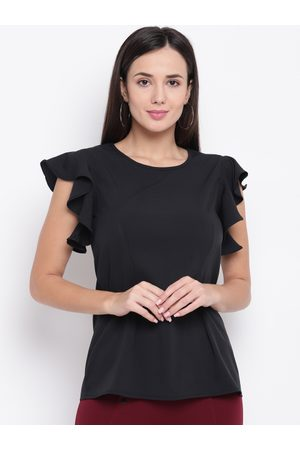 Karmic Vision Women Black Solid Regular Top