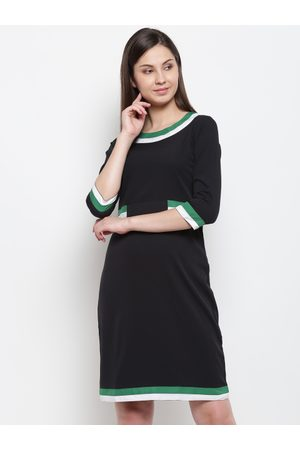 Karmic Vision Women Black Solid A-Line Dress