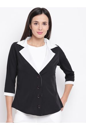 Karmic Vision Women Black Solid Tailored Jacket