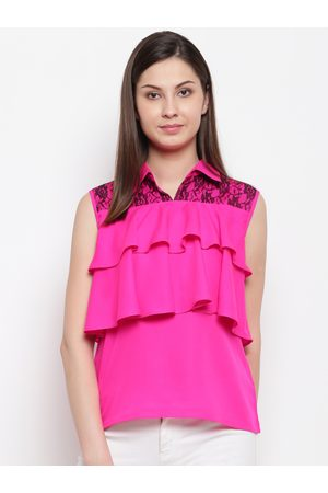 Karmic Vision Women Pink Solid Tiered Top