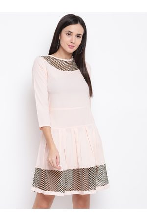 Karmic Vision Women Peach-Coloured Solid A-Line Dress