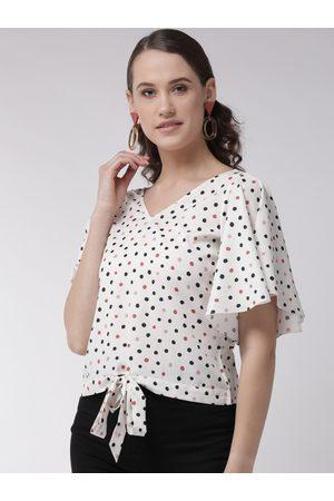 MISH Women Off-White & Black Polka Dot Print Top