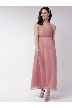 MISH Women Pink Solid Wrap Maxi Dress