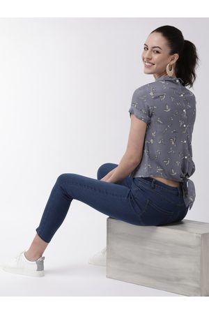 MISH Women Blue Printed Crop Styled Back Top
